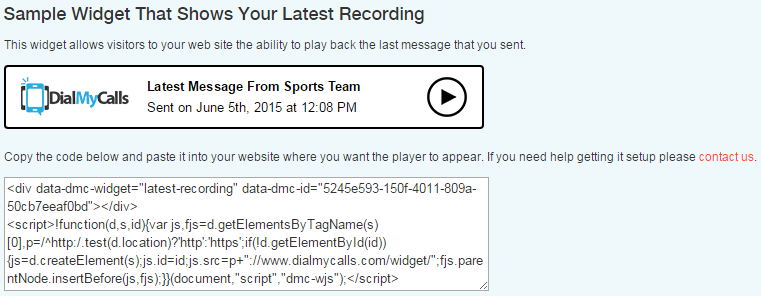 Embeddable Recording Widget Sample